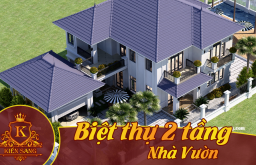 Bản vẽ mẫu thiết kế kiến trúc biệt thự 2 tầng nhà vườn đẹp
